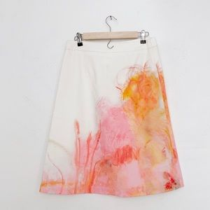 Anthro Watercolor A-Line Skirt | Claire Dejardin